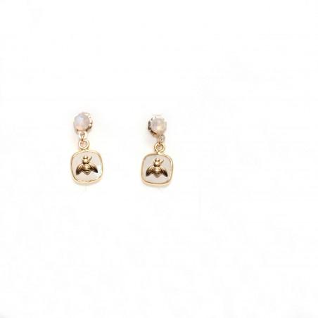 Boucles d'oreilles puces Cérès blanches
