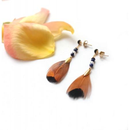 Boucles d'oreilles plumes marrons
