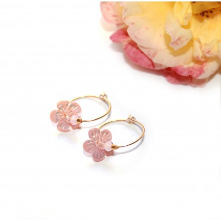 Mini créoles Nacre rose